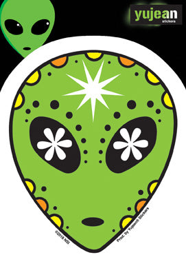 Alien Head Sugar Skull Sticker