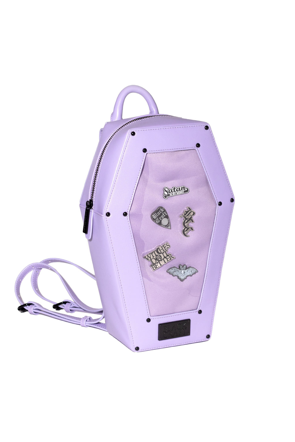 Purple Pin Collector Coffin Backpack