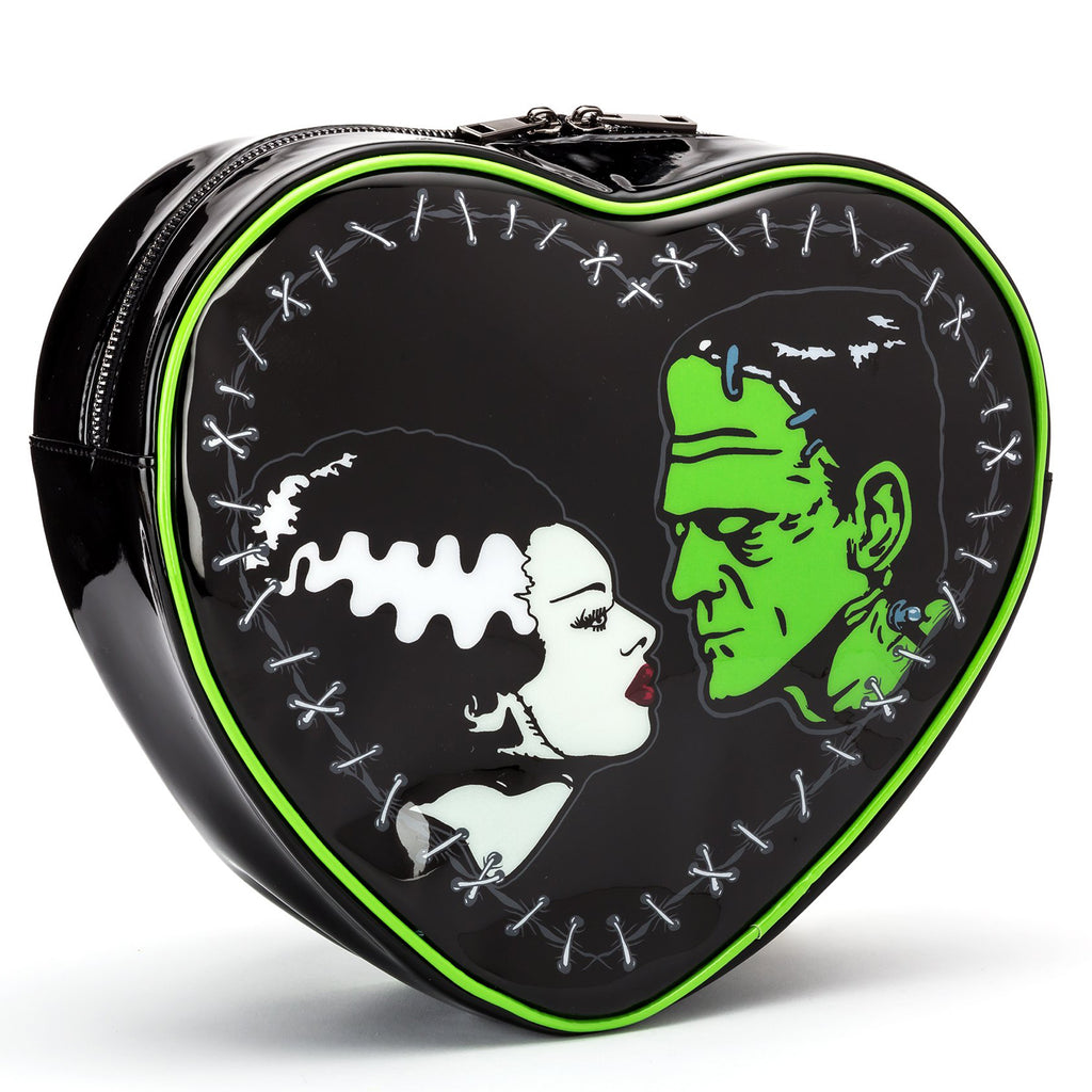 Bride and Frankenstein Heart Shaped Mini Backpack