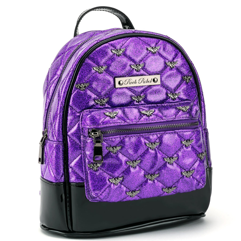 Purple Glitter Bats Mini Backpack