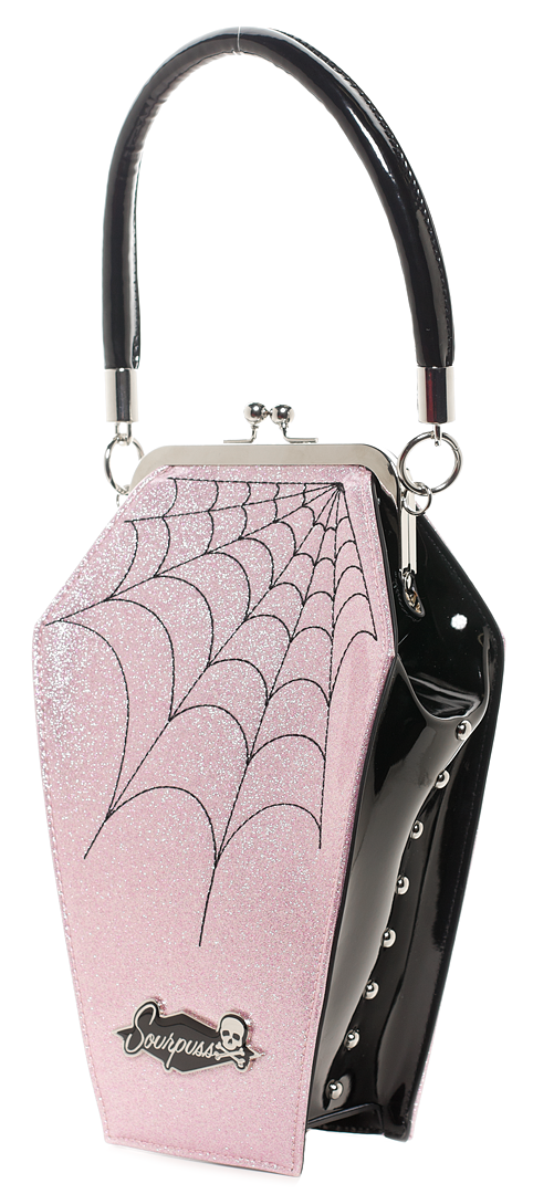 Coffin Sparkle Purse Pink