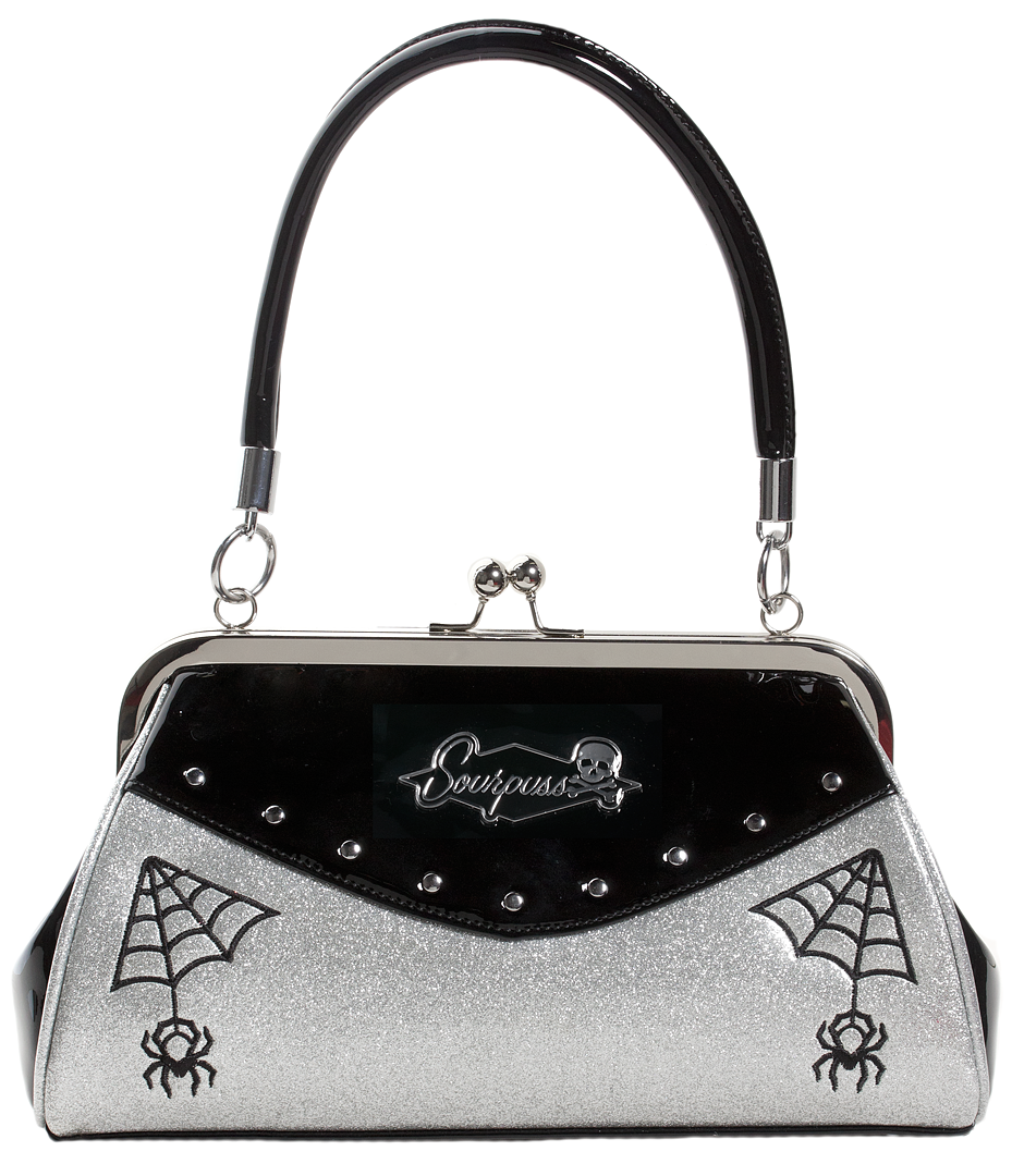 Webbed Widow Purse Black/Silver
