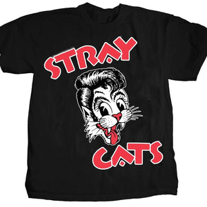 Stray Cats Cat Head Red Letters