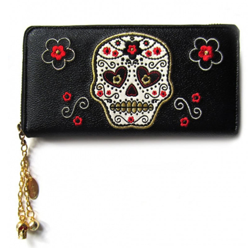 Sugar Skull Gold Trim Wallet
