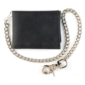 Black Billfold with Chain Wallet