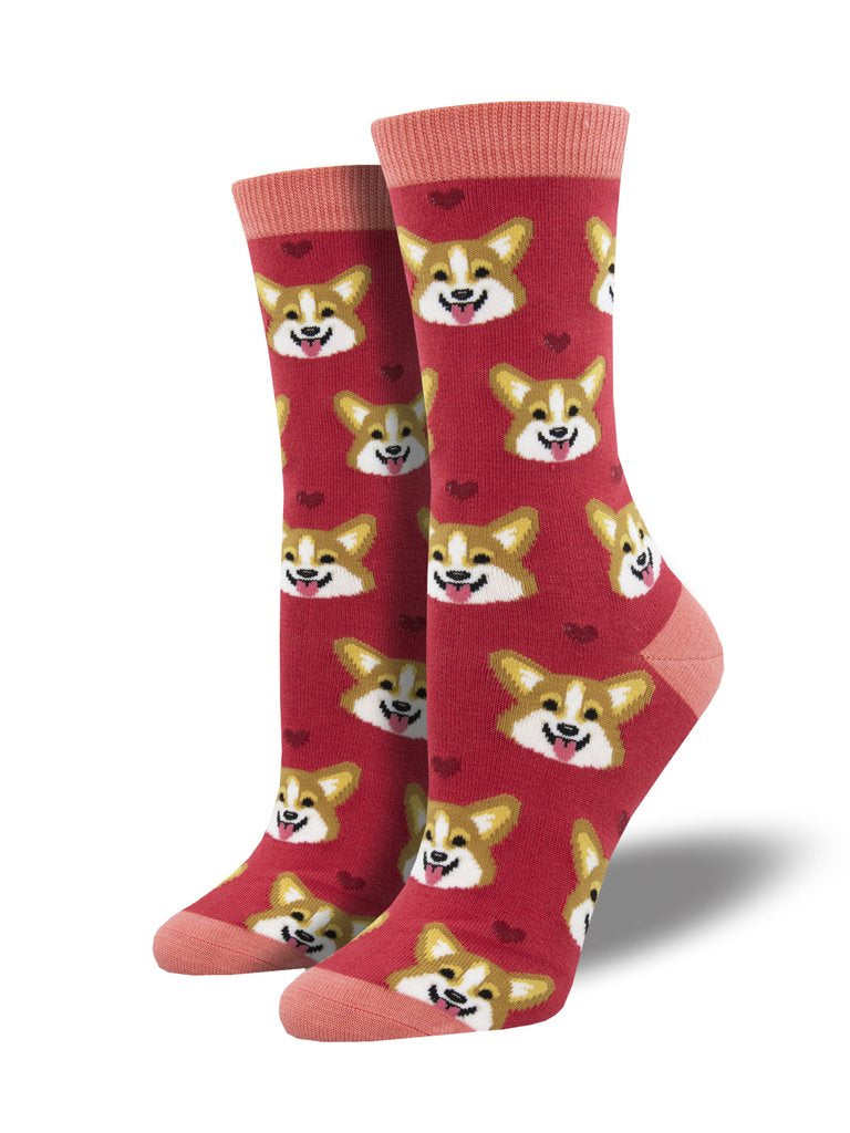 Corgi Faces Pink Women's Socks