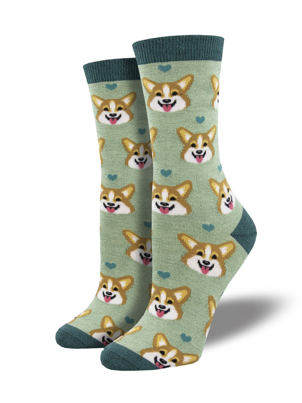 Corgi Faces Green Women's Socks
