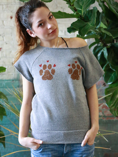 We Heart Muddy Paws Short Sleeve Pullover - Grey [Benefit for Muddy Paws Rescue]
