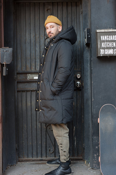 The Casto Parka in Matte Black- on him