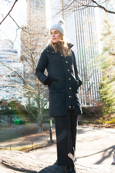 The Casto Parka in Matte Black- on her