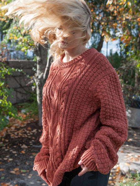 The Vaute Aran Sweater on Her - Copper