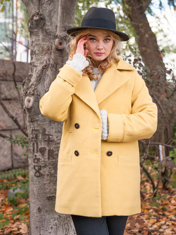 35% Off: The Classic VAUTE Peacoat in Mustard on Her