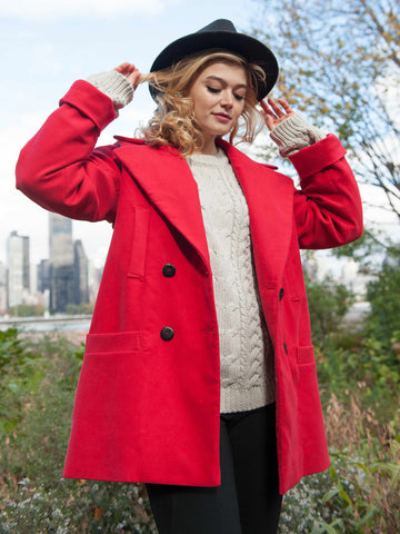 JUST ARRIVED 25% OFF: The Classic VAUTE Peacoat in Cherry on Her
