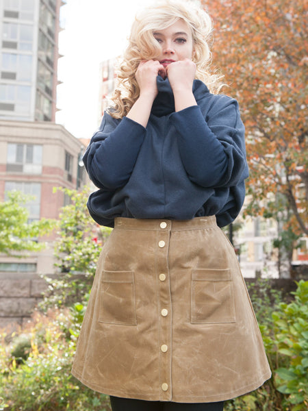 15% Off: A LINE WAXED SKIRT - CAMEL