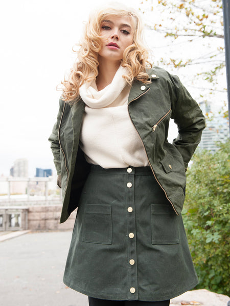 FINAL SALE: A LINE WAXED SKIRT - OLIVE