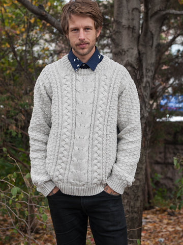 15% OFF: Vegan ARAN Sweater on Him - Cloud