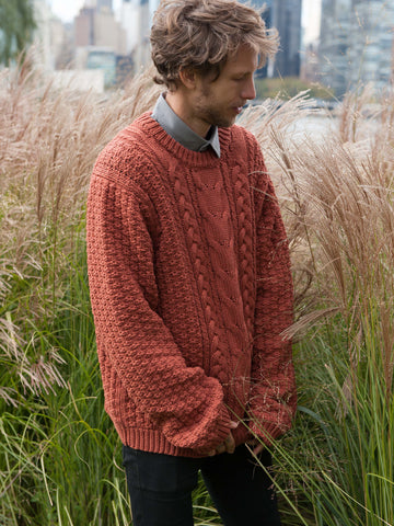 10% OFF: Vegan ARAN Sweater on Him - Copper