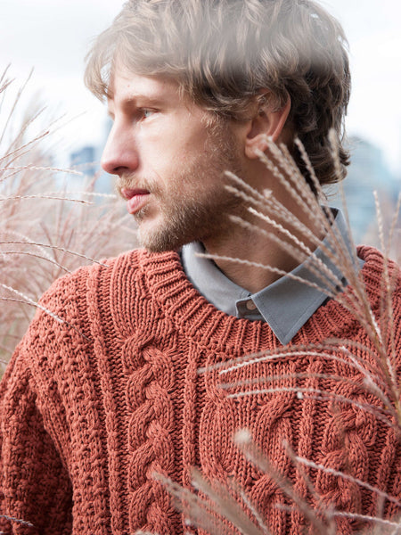 15% OFF: Vegan ARAN Sweater on Him - Copper