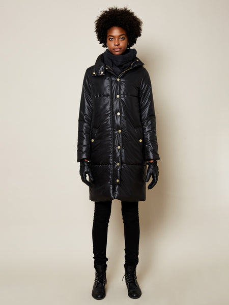 The Casto Parka in Shiny Black