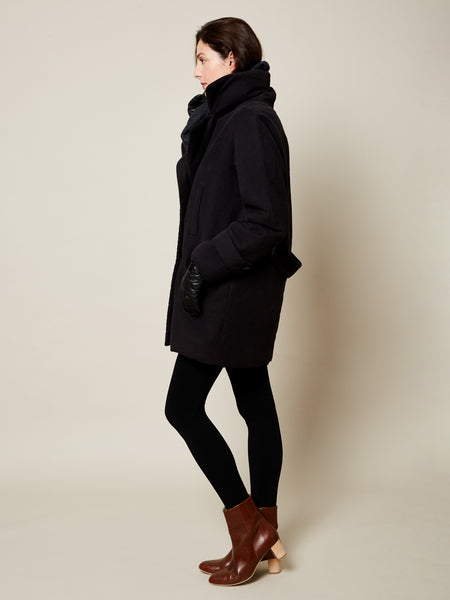 Preorder: The Classic VAUTE Peacoat in Black on Her