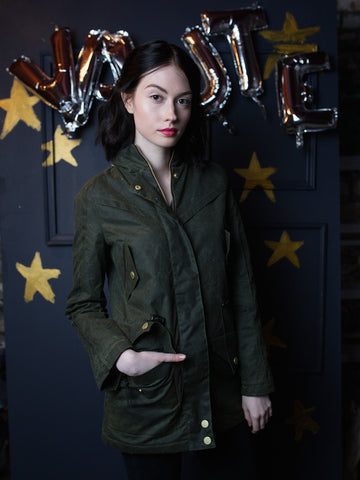 25% Off: FW15 The KAITLIN Waxed Winter Coat in OLIVE