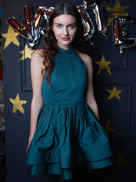 FINAL SALE: The PEMA Party Dress in Satin - Forest