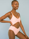 FINAL SALE: The Dagmara Diamond One-Piece in Doll's Cheek Pink - XS ONLY