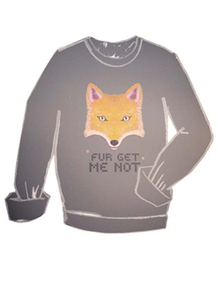 Fur Get Me Not Boyfriend Sweatshirt-Grey