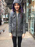 The Kaitlin Waxed Winter Coat in Charcoal - L ONLY - FINAL SALE