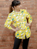 OOAK: Yellow Elephant and Whale Buttondown-Size Small