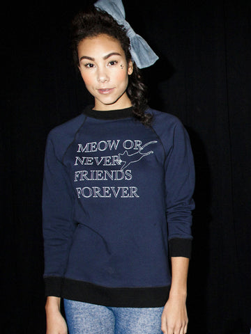 Meow Or Never Friends Forever Sweatshirt-NAVY