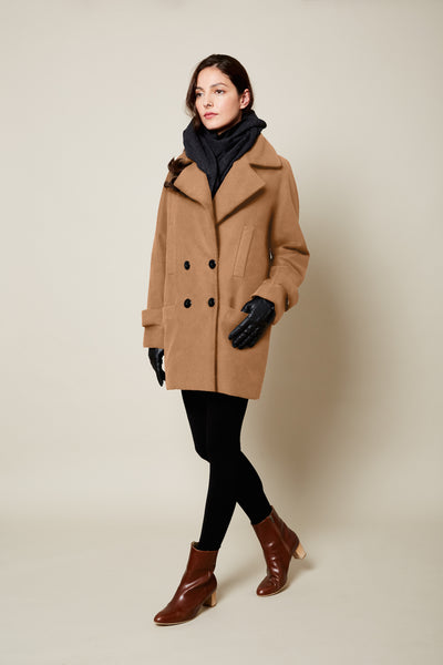 The Classic VAUTE Peacoat in Camel on Her (GENDER NEUTRAL SIZING)