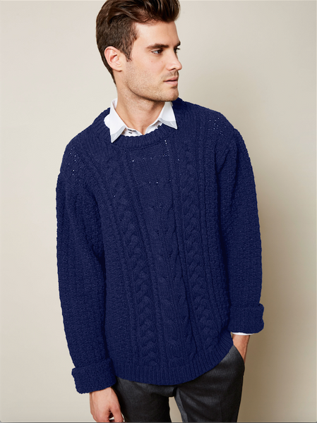 Preorder: The Aran Sweater in Cobalt on Him