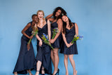The AUDRE Sweetheart Dress in Satin - Midnight - 1 left (L)