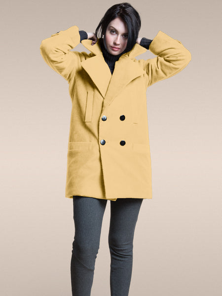 The Classic Gender Neutral VAUTE Peacoat in Mustard
