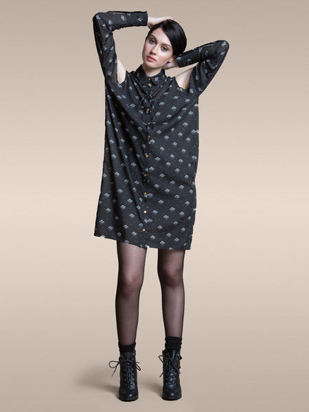 50% OFF: The Brenda Shirt Dress in Storm Chiffon