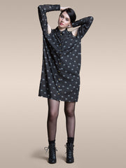 JUST ARRIVED 25% OFF: The Brenda Shirt Dress in Storm Chiffon