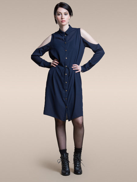 The Brenda Shirt Dress in Navy