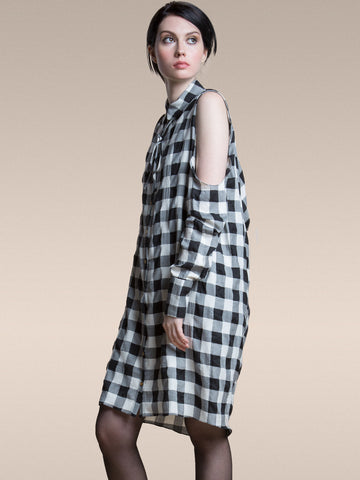 JUST ARRIVED 25% OFF: The Brenda Shirt Dress in Organic Plaid