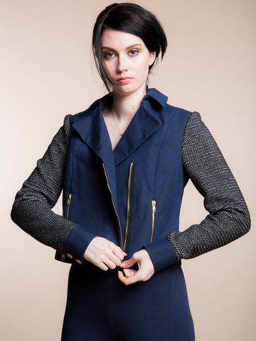 JUST ARRIVED 25% OFF: The Wings- Heavy Waxed Moto with Combo Sleeve in Navy and Black