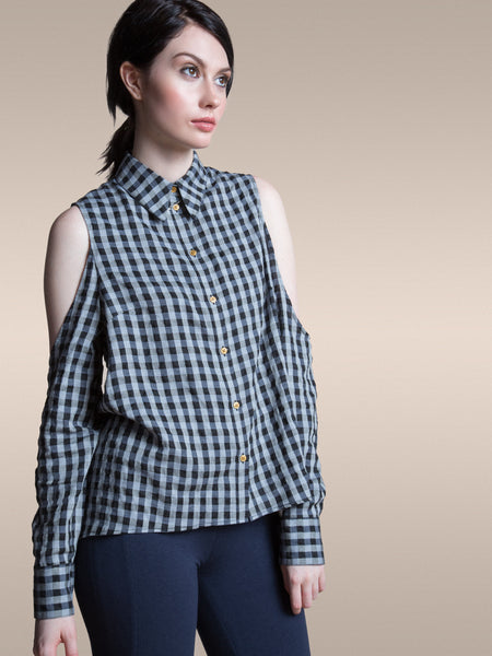 The Dee Blouse in Organic Plaid