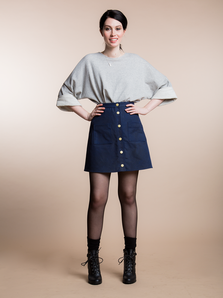 A LINE WAXED SKIRT - NAVY [soldout]