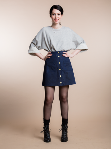 15% Off: A LINE WAXED SKIRT - NAVY
