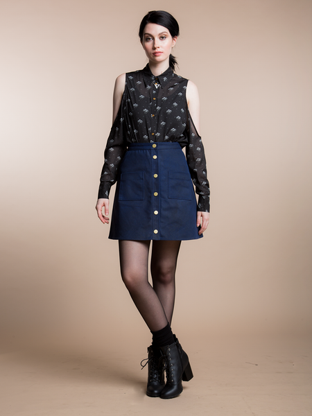 A LINE WAXED SKIRT - NAVY