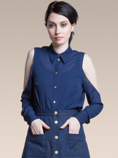 PREORDER 25% OFF: The Dee Blouse in Navy Chiffon