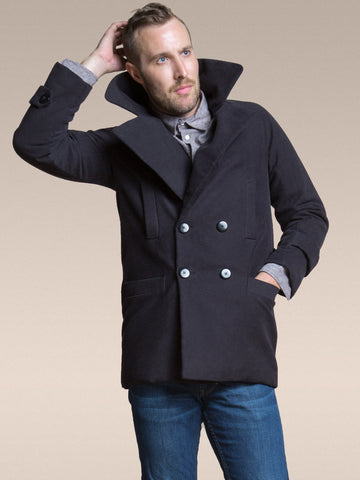 35% Off: The Classic Vaute Peacoat in Black or Cherry on Him - Only Cherry Left!