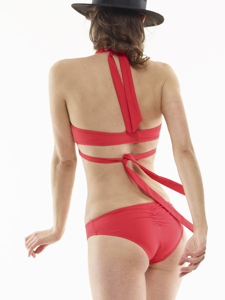 Ruched Swim Bottom in Ariel's Hair Red
