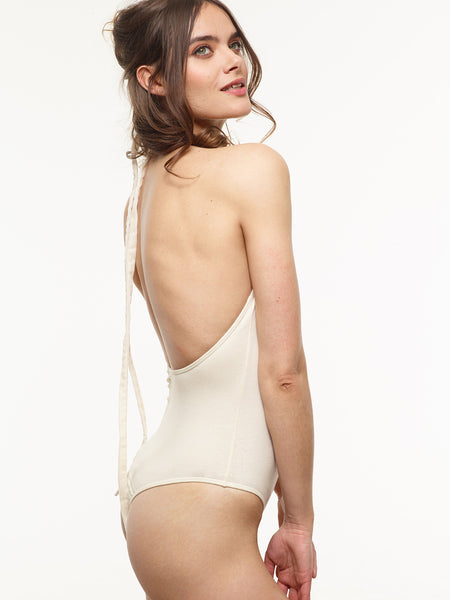 The Liz Backless Organic Bodysuit in Ivory