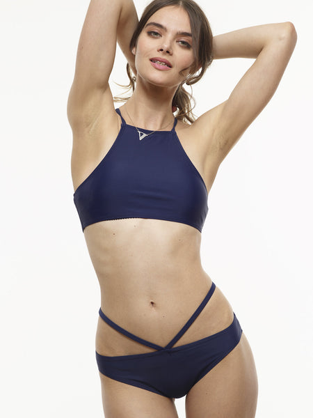 FINAL SALE: The Ursula V-Swim Bottom in Midnight Blue