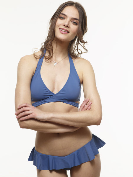 70% OFF: Karolina Wrap Swim Top in Stargate Blue